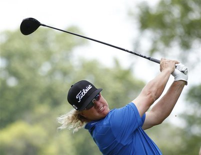 Charley Hoffman of the U.S. tees off on the second hole during the third round of the 2013 U.S. Open golf championship at the Merion Golf Cl