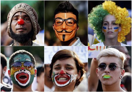 A combination picture shows demonstrators with their faces painted and wearing a Guy Fawkes mask during a protest against the Confederations