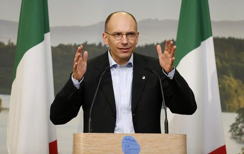 Italy's Prime Minister Enrico Letta addresses a news conference at the end of the G8 summit at the Lough Erne golf resort in Enniskillen, No