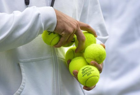 Balls marked Wimbledon 2013 are held during a training session before the Queen's Club Championships in west London June 10, 2013. REUTERS/T