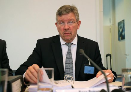 Mercedes principal Ross Brawn is seen prior to the hearing at the FIA headquarters in Paris June 20, 2013. REUTERS/Michel Euler/Pool