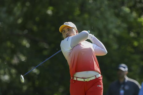 Inbee Park of South Korea tees off on the 12th hole during the final round of the LPGA Golf Championship in Pittsford, New York June 9, 2013