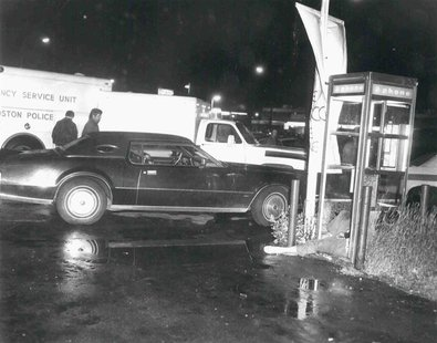 Revere, Massachusetts bar owner, Eddie Connors' body is shown lying dead in a phonebooth in this handout photo provided by the U.S. Attorney