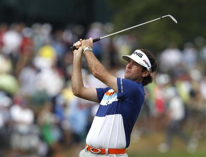 Bubba Watson of the U.S. watches his shot from the first fairway during the second round of the 2013 U.S. Open golf championship at the Meri