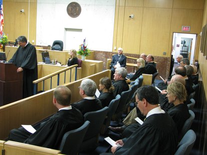 Judges from many federal, state, and county levels attend the investiture ceremony of Marathon County Judge Lamont Jacobson 6/21/13