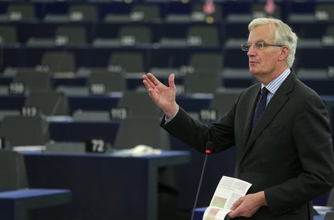 European Commissioner for Internal Market and Services Michel Barnier addresses the European Parliament during a debate on financial service