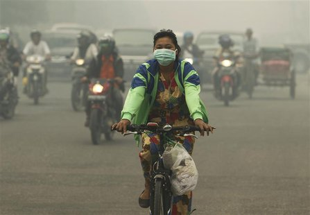 A woman wearing a face mask rides a bicycle in a haze hit Dumai, in Indonesia's Riau province June 21, 2013. REUTERS/Beawiharta