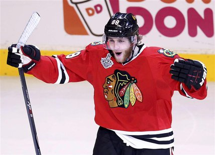 Chicago Blackhawks' Patrick Kane celebrates his goal on the Boston Bruins during the first period in Game 5 of their NHL Stanley Cup Finals