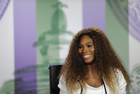 Serena Williams of the U.S. speaks at a news conference the day before the start of the Wimbledon Tennis Championships, in London June 23, 2