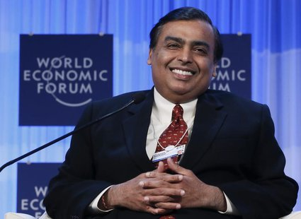 Mukesh Ambani Chairman and Managing Director of Reliance Industries attends the annual meeting of the World Economic Forum (WEF) in Davos Ja