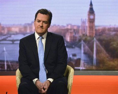 Britain's Chancellor of the Exchequer George Osborne appears on the BBC's Andrew Marr Show, presented by Sophie Raworth, in this photograph