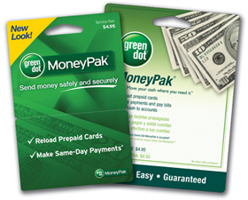 Green Dot Moneypak card