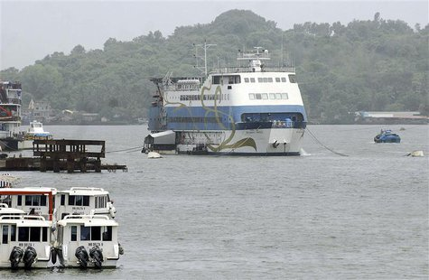 Casino Royale Goa, an off-shore casino on a ship, is pictured anchored on the Mandovi river which runs through Goa's capital Panaji, June 22