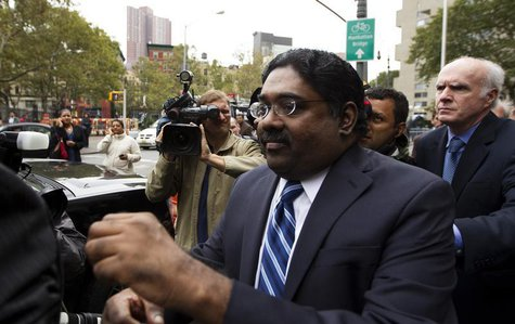 Galleon hedge fund founder Raj Rajaratnam departs Manhattan Federal Court after his sentencing in New York October 13, 2011. REUTERS/Lucas J