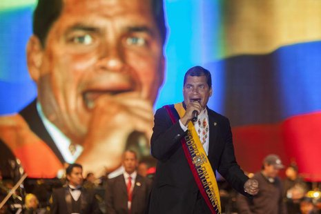 Ecuador's President Rafael Correa delivers a speech to thousands of citizens after his inauguration ceremony at Bicentennial Park in Quito M