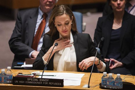 United Nations High Commissioner for Refugees (UNHCR) special envoy, actress Angelina Jolie, listens during a United Nations Security Counci