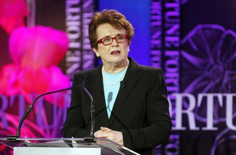 Billie Jean King, co-founder of World Team Tennis and president of Billie Jean King Enterprises, Inc. gives the introduction on sports and l