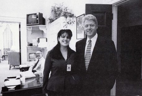 President Clinton poses with Monica Lewinsky in a Nov. 17, 1995 photo, that was released Sept. 21 by Independent Counsel Kenneth Starr as pa