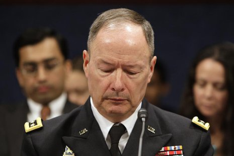 Director of the National Security Agency (NSA) U.S. Army General Keith Alexander looks at his notes during testimony before a U.S. House Per