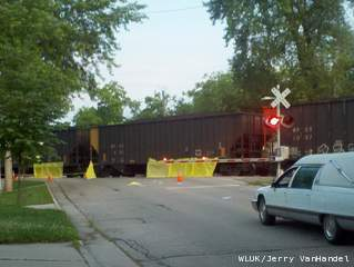 Train stopped after pedestrian struck in Appleton on June 24, 2013. (courtesy of FOX 11).