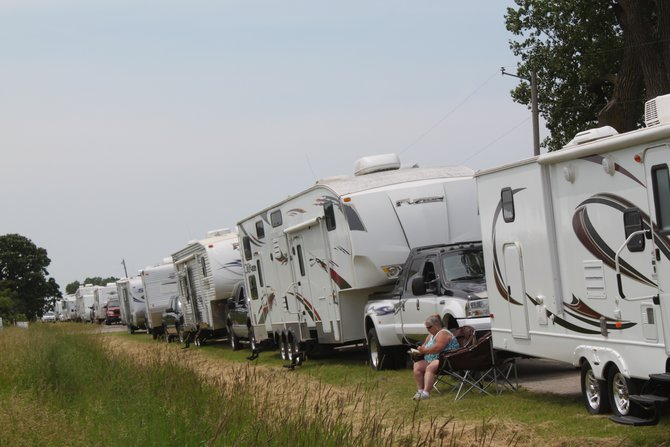 Campers lined up to get in on Monday