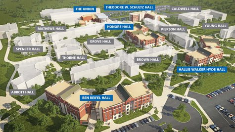 Artist's rendering of the new residence halls in Jackrabbit Grove. (SDSU.edu)