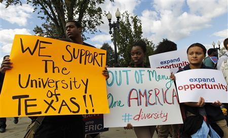 Students calling for diversity protest outside the U.S. Supreme Court in Washington, in this October 10, 2012 file photo. Credit: Reuters/Jose Luis Magana/Files