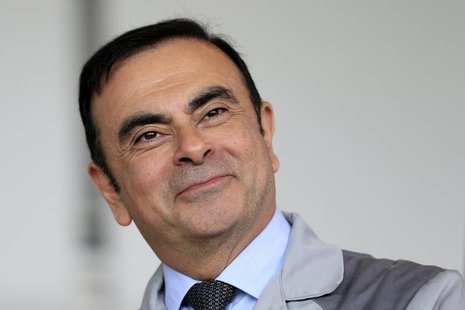 Carlos Ghosn, Chairman and CEO of the Renault-Nissan Alliance, attends a visit to the Renault automobile factory in Flins, west of Paris, Ma