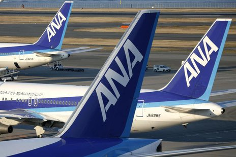 Aircraft of Japan's second-largest airline All Nippon Airways Co., Ltd. (ANA) sit parked at Haneda airport in Tokyo January 17, 2009. REUTER