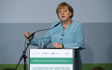 German Chancellor Angela Merkel makes a point during her speech at the German World Bank Group Forum 2013, in Berlin June 20, 2013. REUTERS/