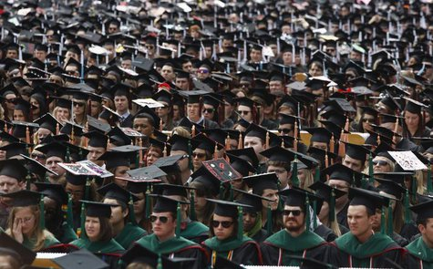 Graduating students attend their spring commencement ceremony at Ohio State University in Columbus, May 5, 2013. REUTERS/Jason Reed