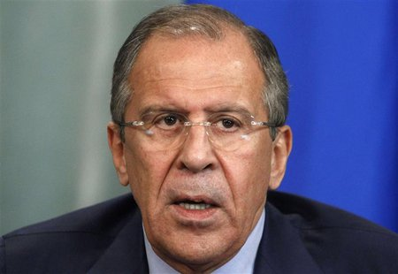 Russia's Foreign Minister Sergei Lavrov speaks during a news conference after a meeting with his Algerian counterpart Mourad Medelci in Mosc