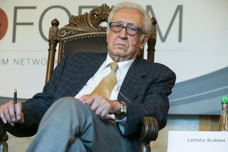 International envoy for Syria Lakhdar Brahimi attends a meeting with peace mediators in Losby Manor, outside Oslo, June 18, 2013. REUTERS/He