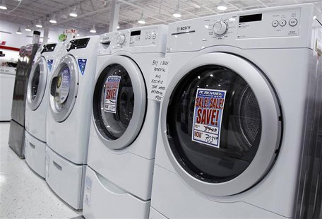 Washers and dryers are seen on display at a store in New York in this file photo taken July 28, 2010. REUTERS/Shannon Stapleton/Files