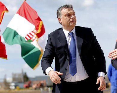 Hungarian Prime Minister Viktor Orban attends a foundation stone laying ceremony for a new division of the Knorr-Bremse factory in Kecskemet