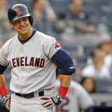 Cleveland Indians' Nick Swisher reacts to striking out against the New York Yankees during the first inning of their MLB American League bas