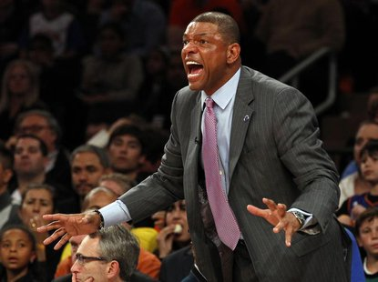 Boston Celtics head coach Doc Rivers argues a call in the second half against the New York Knicks during Game 1 of their NBA Eastern Confere