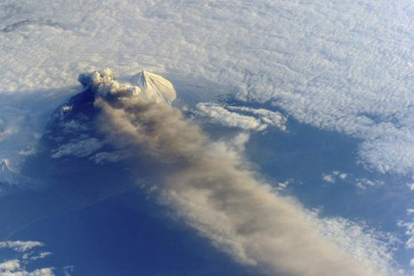 The Pavlof Volcano in Alaska is pictured in this May 18, 2013 NASA handout photo taken by astronauts aboard the International Space Station.