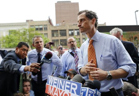 Former U.S. Congressman and New York City mayoral candidate Anthony Weiner speaks with reporters at campaign event in New York, May 23, 2013