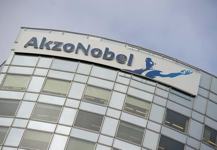 AkzoNobel's logo is seen, ahead of a presentation of the paint maker's 2011 fourth quarter and annual results, in Amsterdam February 16, 201