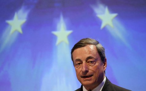 European Central Bank (ECB) President Mario Draghi gives a speech during an economic conference organized by the conservative Christian Demo