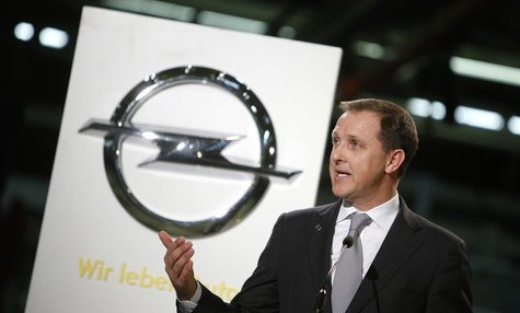 Deputy Chairman of the Management Board of Adam Opel AG Thomas Sedran speaks during the start of the Opel Adam car production in Eisenach Ja
