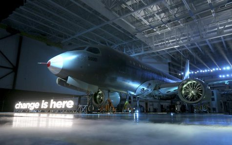 Bombardier unveils its CSeries aircraft at a news conference at its assembly facility in Mirabel, Quebec, March 7, 2013. REUTERS/Christinne
