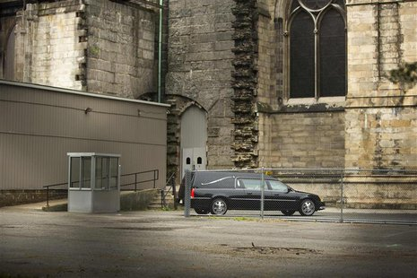A hearse arrives outside the Cathedral Church of Saint John the Divine for the funeral services of James Gandolfini, in New York June 27, 20