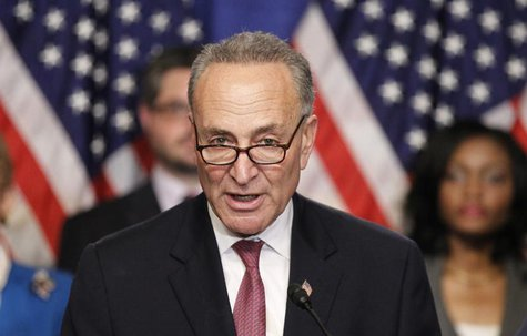 "U.S. Senator Chuck Schumer, part of the U.S. Senate's ""Gang on Eight"", speaks during a news briefing on Capitol Hill in Washington, April 18"