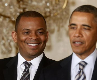 U.S. President Barack Obama names Mayor Anthony Foxx (L) of Charlotte, North Carolina as his nominee to replace Ray LaHood as U.S. Transport