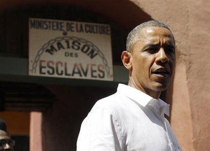U.S. President Barack Obama is pictured at Maison Des Ecslaves, the gathering point where slaves were shipped west in the 1700s and 1800s, a