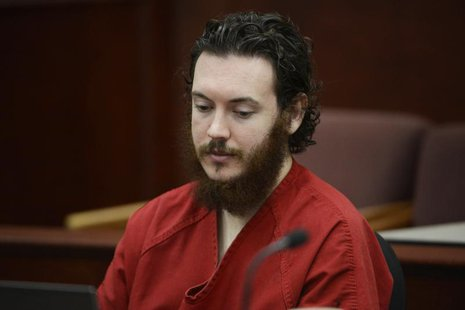 James Holmes sits in court for an advisement hearing at the Arapahoe County Justice Center in Centennial, Colorado June 4, 2013. REUTERS/And