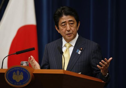 Japan's Prime Minister Shinzo Abe speaks during a news conference at his official residence in Tokyo June 26, 2013, to mark the end of the o