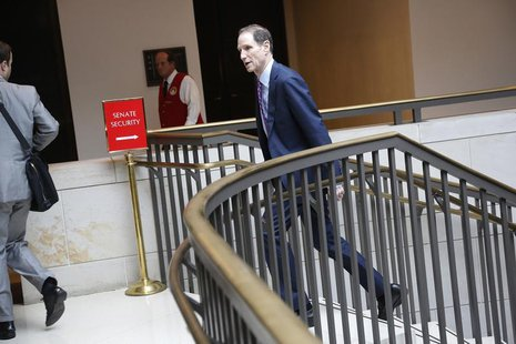 U.S. Senator Ron Wyden (D-OR) departs after a full-Senate briefing by Director of the National Security Agency General Keith Alexander (not